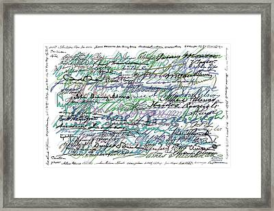 All The Presidents Signatures Teal Blue Framed Print by Tony Rubino