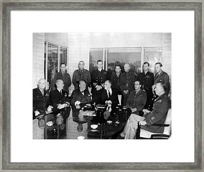Allied Nations War Strategy Conference Framed Print by Everett