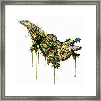 Alligator Watercolor Painting Framed Print by Marian Voicu