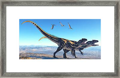 Allosaurus On Mountain Framed Print by Corey Ford