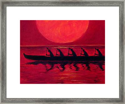 Almost Across The Line Framed Print by Angela Treat Lyon