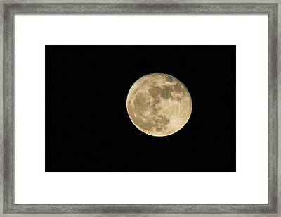 Skies - Almost Full Moon Framed Print by J Darrell Hutto