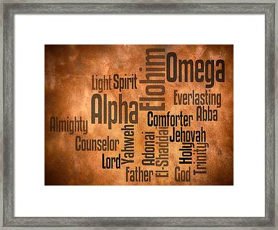 Alpha And Omega Framed Print by Angelina Vick