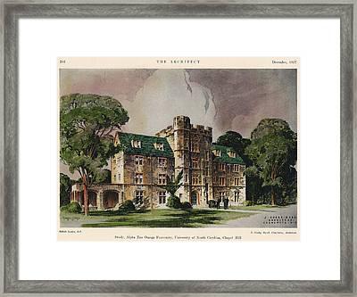 Alpha Tau Omega Fraternity. Chapel Hill Nc. 1927 Framed Print by J Cozby Byrd