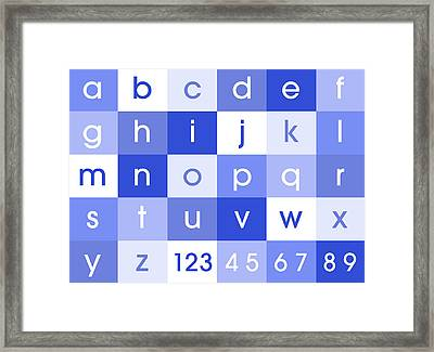Alphabet Blue Framed Print by Michael Tompsett