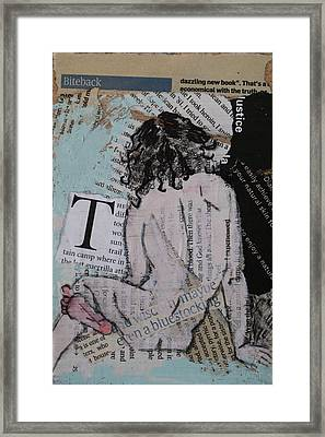 Alphabet Nude T Framed Print by Joanne Claxton
