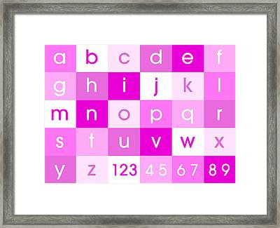 Alphabet Pink Framed Print by Michael Tompsett
