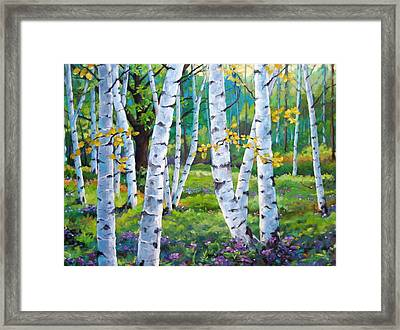 Alpine Flowers And Birches  Framed Print by Richard T Pranke