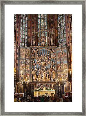Altarpiece By Wit Stwosz In St. Mary's Basilica Framed Print by Artur Bogacki