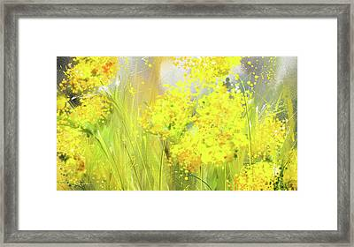 Alyssum Basket Of Gold - Yellow And Gray Abstract Framed Print by Lourry Legarde