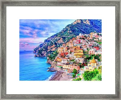 Amalfi Coast At Positano Framed Print by Dominic Piperata