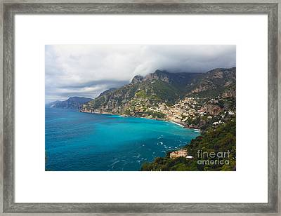 Amalfi Coast Scenic Vista At Positano Framed Print by George Oze