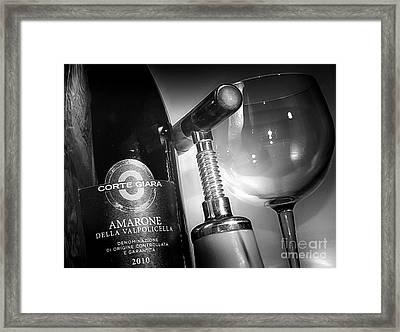Amarone Black And White Framed Print by Stefano Senise