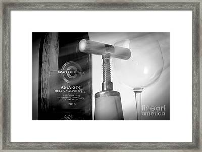 Amarone Wine And Bottle Opener Framed Print by Stefano Senise