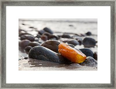Amber Stone On Rocky Beach Framed Print by Michal Bednarek