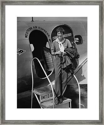 Amelia Earhart 1897-1937 Standing Framed Print by Everett