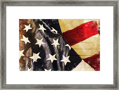 America Flag Pattern Postcard Framed Print by Setsiri Silapasuwanchai