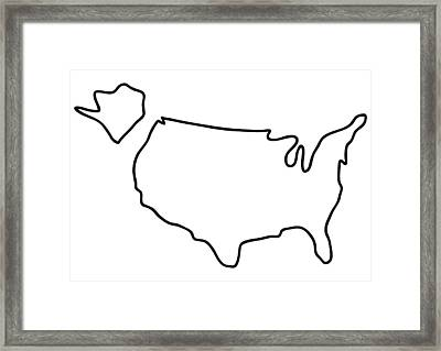 america USA map Framed Print by Lineamentum
