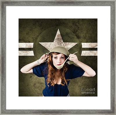 American Army Pinup Girl. Grunge Fashion Style Framed Print by Jorgo Photography - Wall Art Gallery