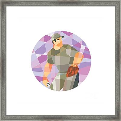 American Baseball Pitcher Throwing Ball Low Polygon Framed Print by Aloysius Patrimonio