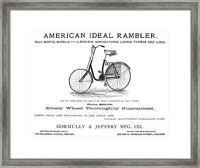 American Bicycle, 1890 Framed Print by Granger