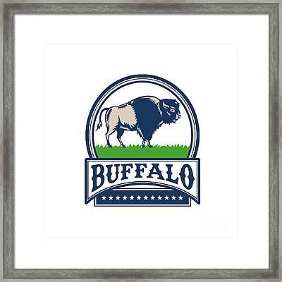 American Bison Buffallo Banner Circle Woodcut Framed Print by Aloysius Patrimonio