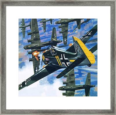 American Bombing Raid Over Europe In July 1943 Framed Print by Wilf Hardy