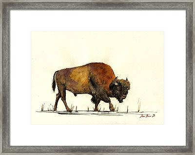 American Buffalo Watercolor Framed Print by Juan  Bosco