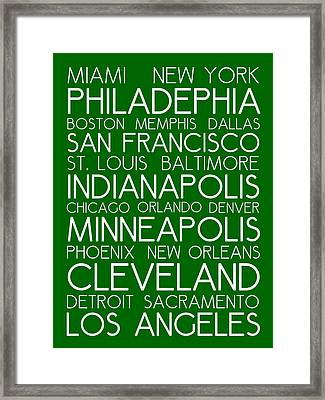 American Cities In Bus Roll Destination Map Style Poster - Green  Framed Print by Celestial Images