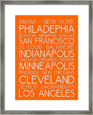 American Cities In Bus Roll Destination Map Style Poster - Orange Framed Print by Celestial Images