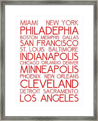 American Cities In Bus Roll Destination Map Style Poster - White-red Framed Print by Celestial Images