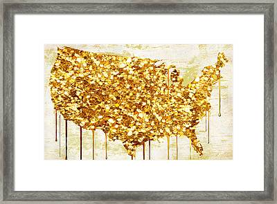 Glitter Gold American Map Framed Print by Mindy Sommers