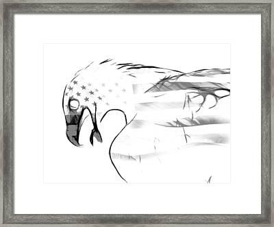 American Eagle Black And White Framed Print by Melanie Viola