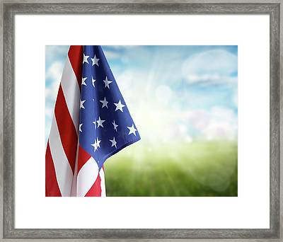American Flag 6 Framed Print by Les Cunliffe