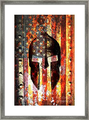 American Flag And Spartan Helmet On Rusted Metal Door Framed Print by Fred Bertheas