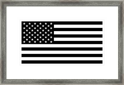 American Flag - Black And White Version Framed Print by War Is Hell Store