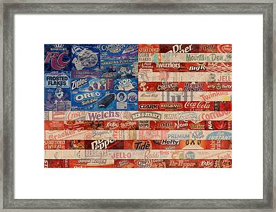 American Flag - Made From Vintage Recycled Pop Culture Usa Paper Product Wrappers Framed Print by Design Turnpike