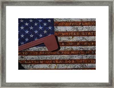 American Flag Mail Box Framed Print by Garry Gay