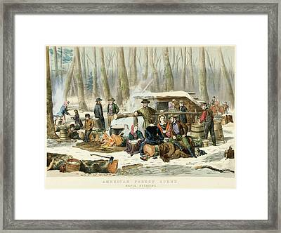 American Forest Scene Maple Sugaring Framed Print by Currier and Ives