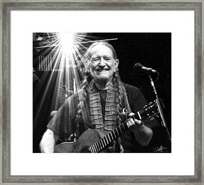 American Icon - Willie Nelson Framed Print by David Syers