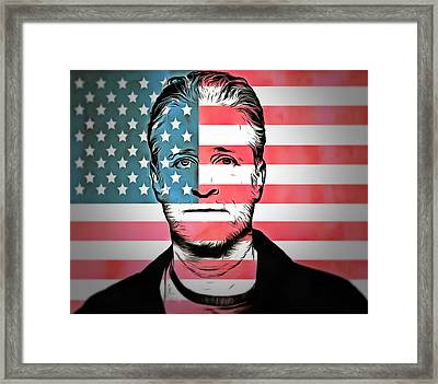 American Icon Jon Stewart Framed Print by Dan Sproul