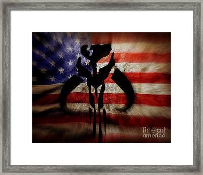 American Mandalorian Blasting Framed Print by Justin Moore