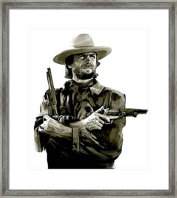 American Outlaw V Clint Eastwood Framed Print by Iconic Images Art Gallery David Pucciarelli