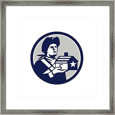 American Patriot Holding House Circle Retro Framed Print by Aloysius Patrimonio