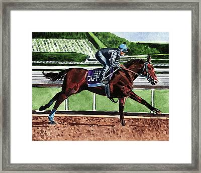 American Pharoah Triple Crown Winner Framed Print by Laura Row