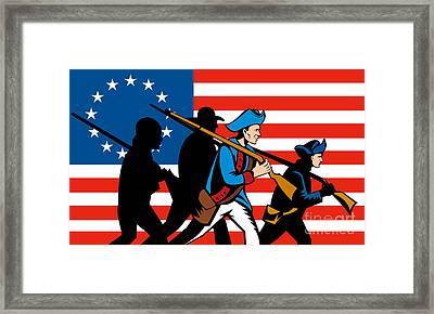 American Revolutionary Soldier Marching Framed Print by Aloysius Patrimonio
