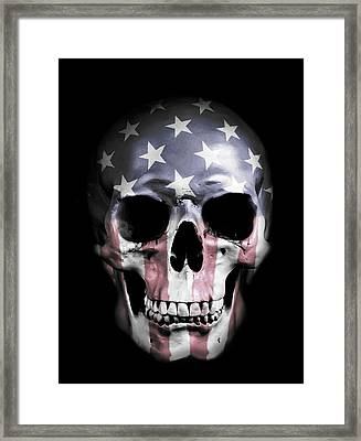Digital Manipulation Framed Print featuring the digital art American Skull by Nicklas Gustafsson