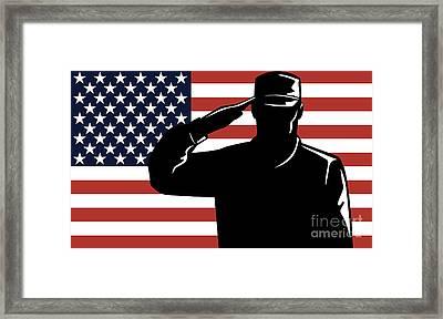 American Soldier Salute Framed Print by Aloysius Patrimonio