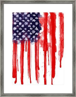 American Spatter Flag Framed Print by Nicklas Gustafsson
