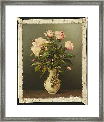 American Title Vase Of Roses Framed Print by Thomas Addison Richards